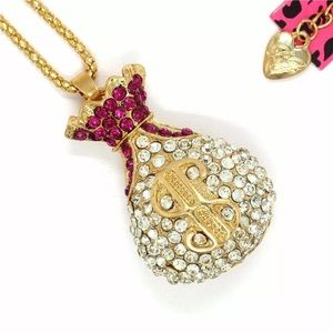 BetseyJohnson Pink Money💰Bag Blinged Out Necklace